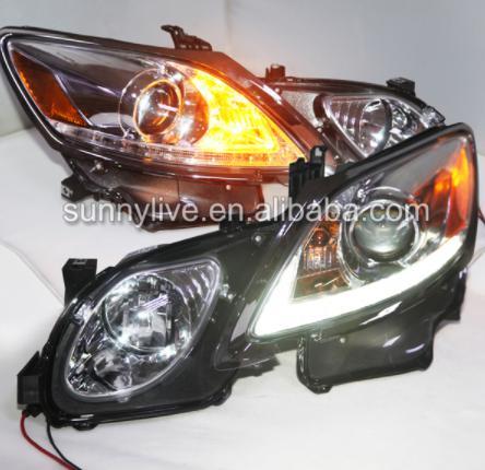 USヘッドライト[右ハンドル・日本仕様]GS350 GS430 GS450プロジェクターレンズ2006年から2011年までのL GS350 GS430 GS450 LED Head Lamps with Projector Lens 2006-2011 Chrome Housing for Lexus