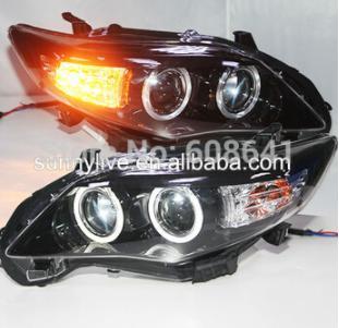 USヘッドライト[右ハンドル・日本仕様]Corolla Altis LEDエンジェルアイヘッドランプ2010年から2012年ブ Corolla Altis LED Angel eyes head lamp 2010-2012 year Black Housing PW