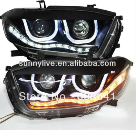 USヘッドライト[右ハンドル・日本仕様]ハイランダーLEDヘッドライトエンジェルアイズUタイプTLZ V4 LED 2色Hig Highlander LED Headlight Angel Eyes U Type TLZ V4 LED 2 Color
