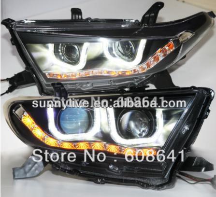 USヘッドライト[右ハンドル・日本仕様]クルーガーハイランダーLEDヘッドライトUタイプエンジェルアイトヨタ用2012 TLZ Kluger Highlander LED Head Light U Type Angel Eyes For TOYOTA 2012 TLZ