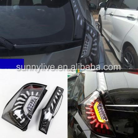 USテールライト[右ハンドル・日本仕様]ホンダフィットジャズ用LEDテールランプハッチバック14-UPブラックハウジングクリア For Honda Fit Jazz LED Tail Lamp hatchback 14-UP Black Housing Clear Lens LH