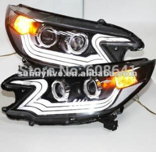 USヘッドライト[右ハンドル・日本仕様]CRV用LEDヘッドライトエンジェルアイプロジェクターレンズ2012年版LD V1Fo For CRV LED Headlight Angel Eyes Projector Lens 2012 year LD V1