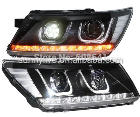 USヘッドライト[右ハンドル・日本仕様]ドッジ・ジャーニーJCUV LEDヘッドランプ2009-2014年UタイプハイビームL For Dodge Journey JCUV LED Head Lamps 2009-2014 Years U type High beam LED +low beam HID