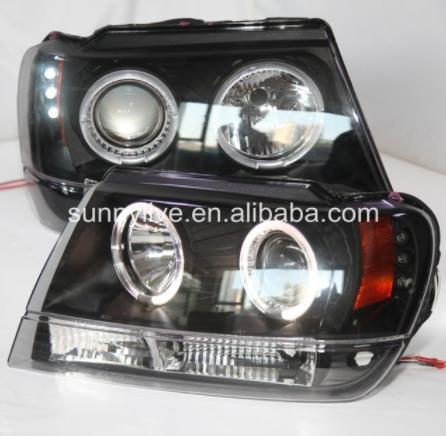 USヘッドライト[右ハンドル・日本仕様]クライスラーグランドチェロキーのLEDヘッドライトエンジェルアイ1999-2004 S For Chrysler Grand Cherokee LED Head Light Angel Eyes 1999-2004 SN