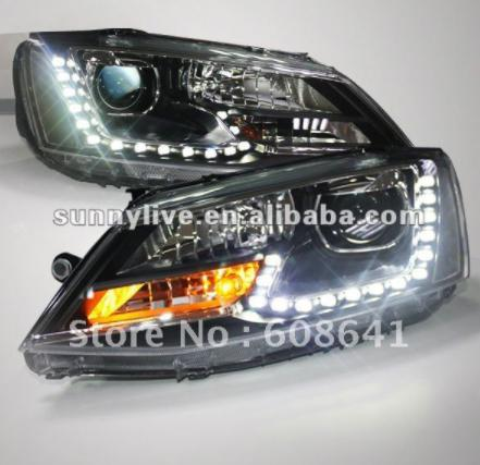 USヘッドライト[右ハンドル・日本仕様]VW新型Jetta Sagitar用LEDヘッドライトエンジェルアイ2011年12月U For VW New Jetta Sagitar LED Headlight Angel Eyes 2011 to 12 year U shape with DRL