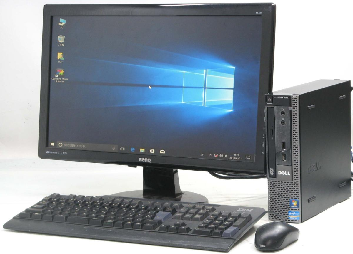中古デスクトップパソコン DELL Optiplex 7010-3470USDT■22液晶セット(デル Windows10 Corei5 グラボ ビデオカード)【中古】【中古パソコン/中古PC】