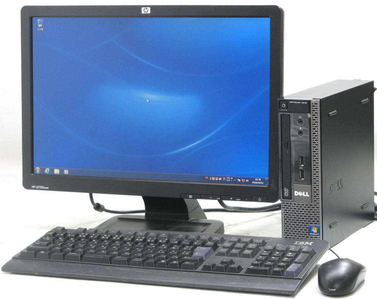 中古デスクトップパソコン DELL Optiplex 7010-3470USDT■19W液晶セット(デル Windows7 Corei5 グラボ ビデオカード)【中古】【中古パソコン/中古PC】