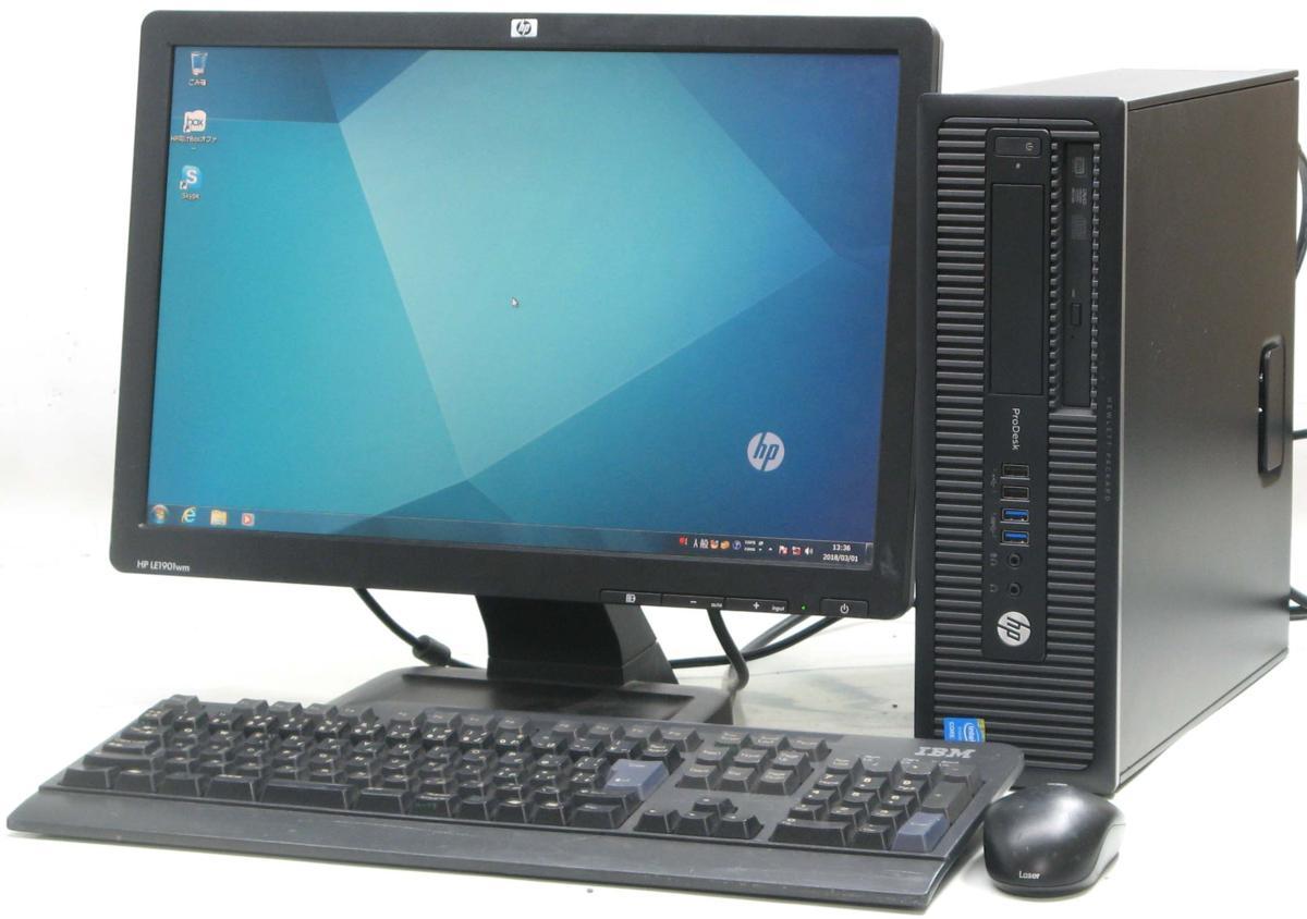 中古デスクトップパソコン HP PRODESK 600 G1 SFF 4790■19W液晶セット(ヒューレット・パッカード Windows7 Corei7 DVDスーパーマルチドライブ)【中古】【中古パソコン/中古PC】