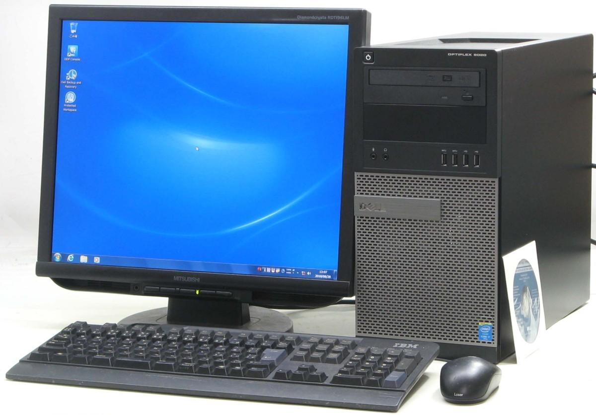 デスクトップパソコン DELL Optiplex 9020 4770MT 19液晶セット デル Windows7 Corei7H9EDIW2