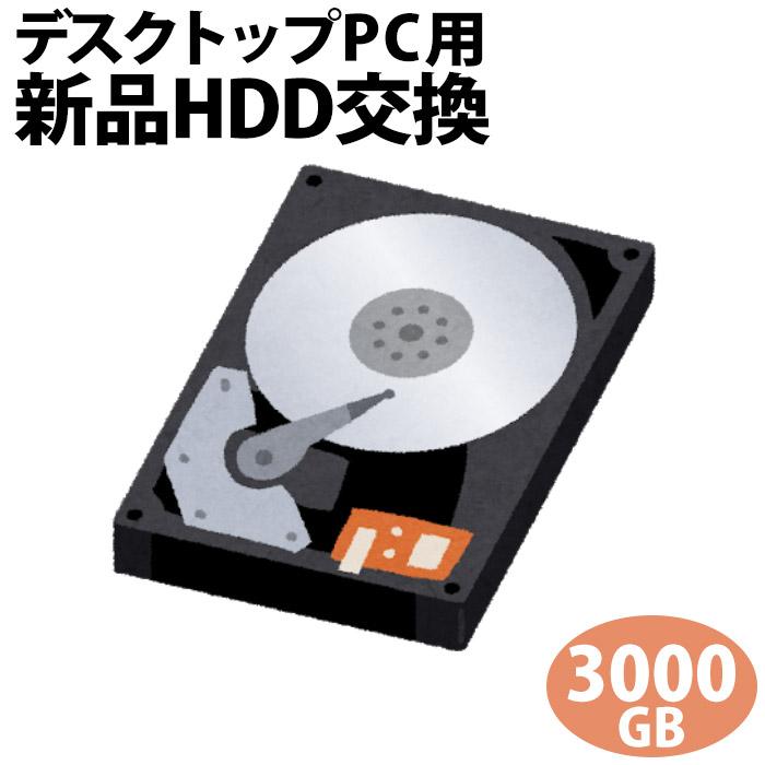 デスクトップパソコン専用■HDD 3000GBに新品交換/PC本体をご購入時に追加できるオプションです