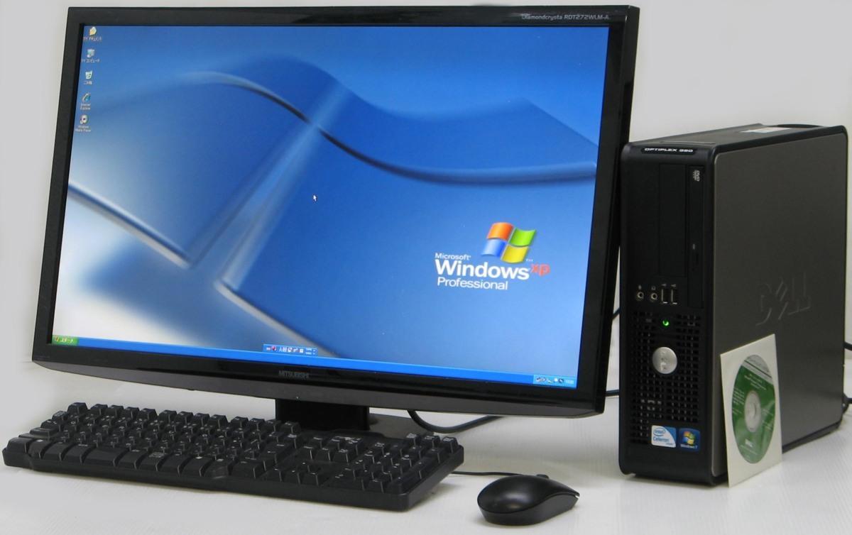中古パソコンのUSED PC デスクトップ 店 送料無料 DELL Optiplex 380-450SF ■ 27インチ 液晶セット Celeron ブランド買うならブランドオフ 中古デスクトップ HDD XP メモリ Windows 250G 中古 中古パソコン 2G