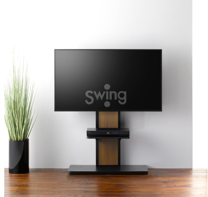 【送料無料】 朝日木材加工棚付き壁寄せスタンド AS-WA800リバーシブル ブラック木目/ウォルナット木目 テレビスタンド スマートな壁寄せスタンド