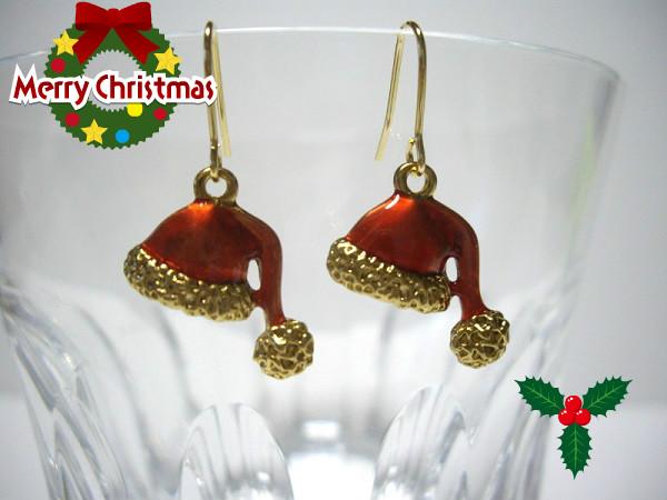 クリスマスまでの限定価格 プライスダウン クリスマスピアス クリスマスハットピアス 捧呈 メール便送料無料 国内送料無料 クリスマスプレゼント イヤリング