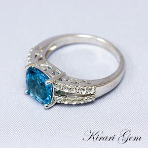 [KirariGem]指輪 CSカットのライトスイスブルートパーズ