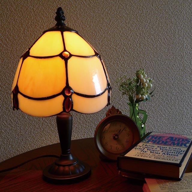 ミニ テーブルランプ ステンドグラス ミニランプ スタンドライト アンティーク ランプ ライト ベッドサイド ベッドランプ 寝室 デスクライト テーブルライト クラシック スタイル アンティーク調 LED 照明 間接照明 シェード おしゃれ かわいい ミニテーブルランプ BO-2384AC