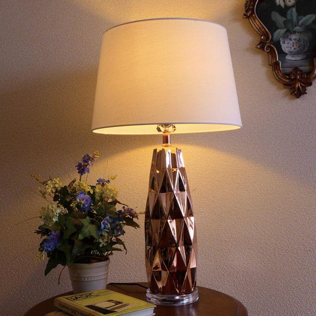 テーブルランプ テーブルライト 光沢 ピンク モダン ランプ ライト テーブル アンティーク アンティーク調 おしゃれ ベッドサイド ベッド サイド 高級 寝室 リビング デスク クラシック テイスト LED シェード シェードランプ スタンドライト 照明 間接照明 BO-2720TB