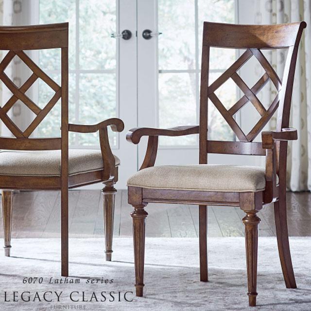 ダイニングチェア 肘付き チェア アンティーク アンティーク調 アメリカン フレンチ クラシック テイスト 木製 高級 エレガント おしゃれ ブラウン 茶 椅子 いす 食卓用 ダイニング アームチェア ダイニングセット にも Legacy Latham 6070-141KD