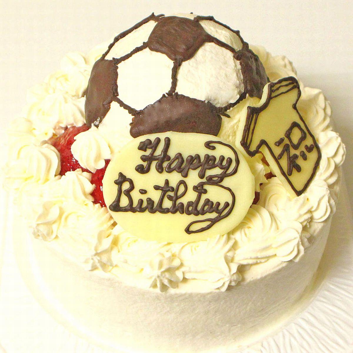 サッカーボールケーキ5号 ☆ フルーツケーキ いちごケーキ マンゴーケーキ 選択☆