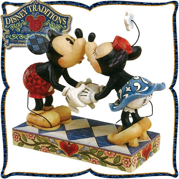 平日お昼12時までのご注文で当日発送します★木彫り調フィギュア ミッキーマウスとミニーマウスのキッシング 「ミッキーとミニーのキス」★ディズニー・トラディション