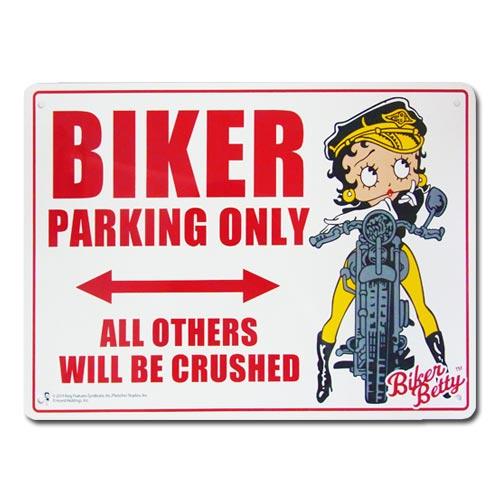 バイカーじゃなくてもどーぞ サインボード プラスティックサインボード BIKER PARKING バイク専用駐車場 本物◆ ONLE ベティ ☆送料無料☆ 当日発送可能