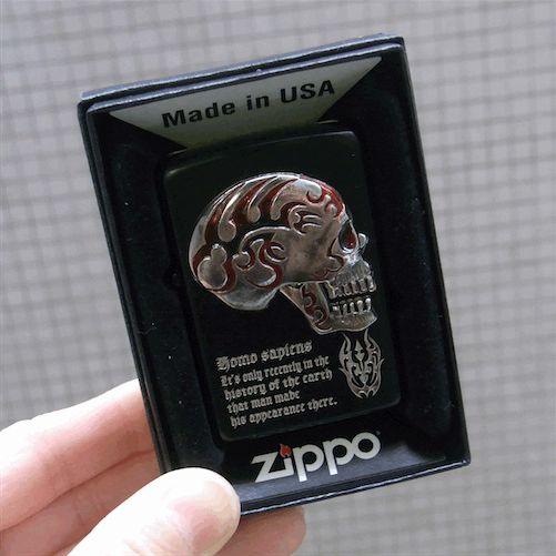 【zippo】【スカルグッズ】【ジッポー】【Made in USA】【ブラック】【スカル】