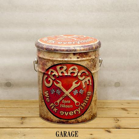 【ガレージグッズ】【ペール缶クッション】【GARAGE 】【レトロ風】【Pail Can Stool】