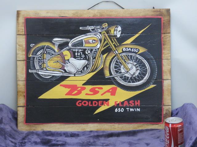 板絵 【海外アーティストハンドメイド作品】パネル画【1956 ゴールドen Flash 650TWIN】バイク絵