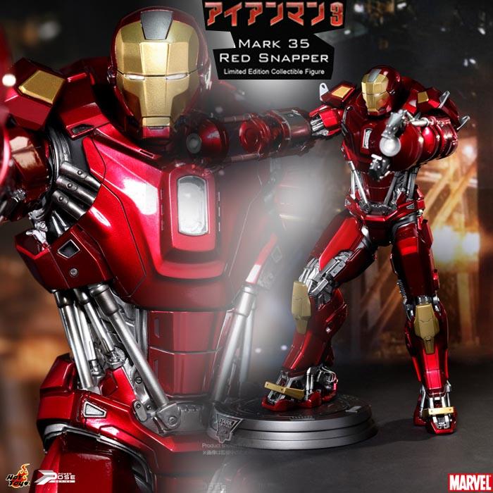 1/6スケール限定可動フィギュア アイアンマン・マーク35 (レッド・スナッパー)【パワー・ポーズ】『アイアンマン3』ホットトイズ社製/Power Pose - Iron Man 3 - 1/6 Mark 35 Red Snapper