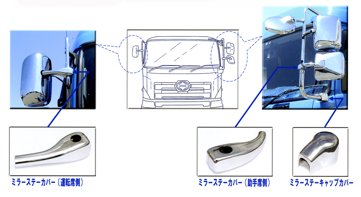 メッキミラーステーカバーセットグランドプロフィア(H15.10~H22.6)電動リモコンミラー無し車用
