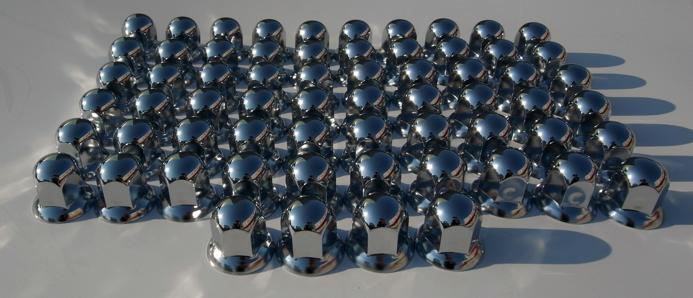 送料無料新品 新基準ISOホイール用 日本メーカー新品 バラ売 特価ステンメッキナットキャップ33mm 高さ46mm 64個セット