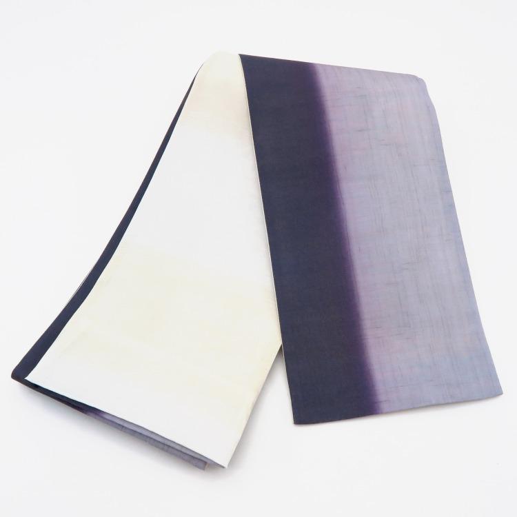 帯 小袋帯 正絹 半幅帯 日本製 リバーシブル 着物 浴衣 グラデーション 半巾帯 帯 半幅帯 文様 縞 ボーダー 紫 パープル ラベンダー レトロ 大正浪漫 モダン 和柄