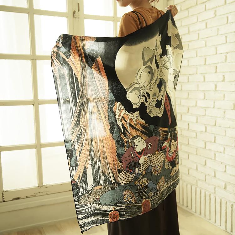 シルクスカーフ シルク100% 大判スカーフ silk scarf 浮世絵スカーフ 歌川国芳「相馬の古内」絹 utagawa kuniyoshi