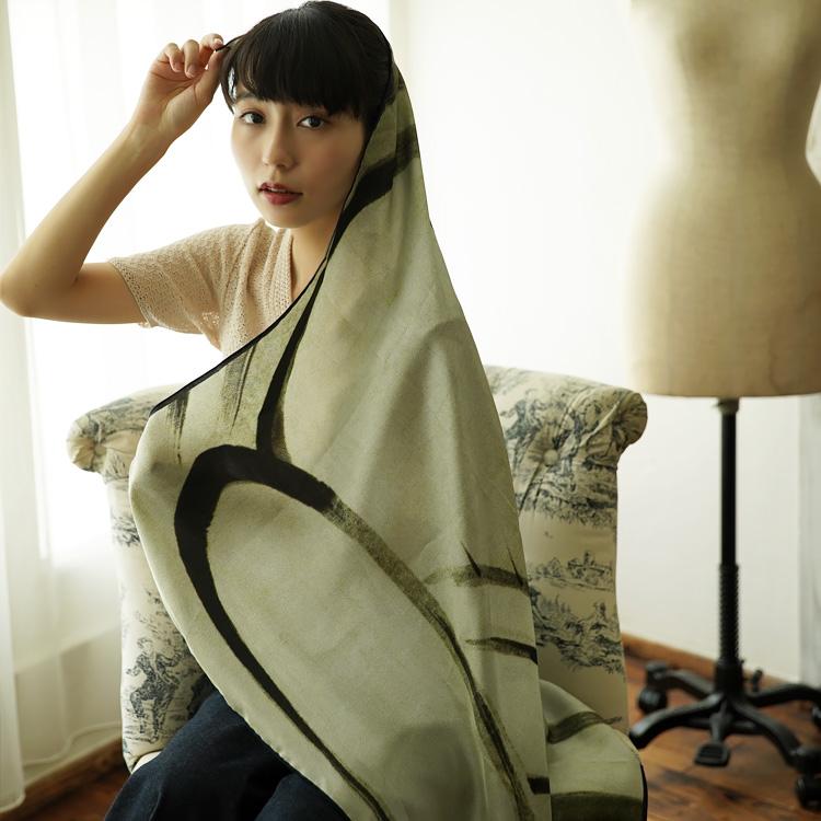 シルクスカーフ シルク100% 大判スカーフ silk scarf  浮世絵スカーフ 伊藤若沖「象」絹 itou jakuchu