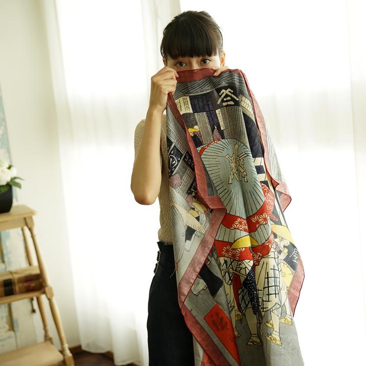 シルクスカーフ シルク100% 大判スカーフ silk scarf 浮世絵スカーフ 歌川広重 「日本橋」絹 utagawa hirosige