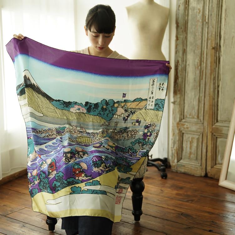 シルクスカーフ シルク100% 大判スカーフ silk scarf 浮世絵スカーフ 葛飾北斎 「金谷の不二」絹 katsushika hokusai