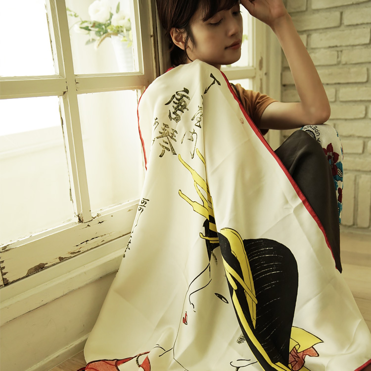 シルクスカーフ シルク100% 大判スカーフ silk scarf 浮世絵スカーフ 喜多川歌麿 「丁小屋唐」絹 kitagawa utamaro