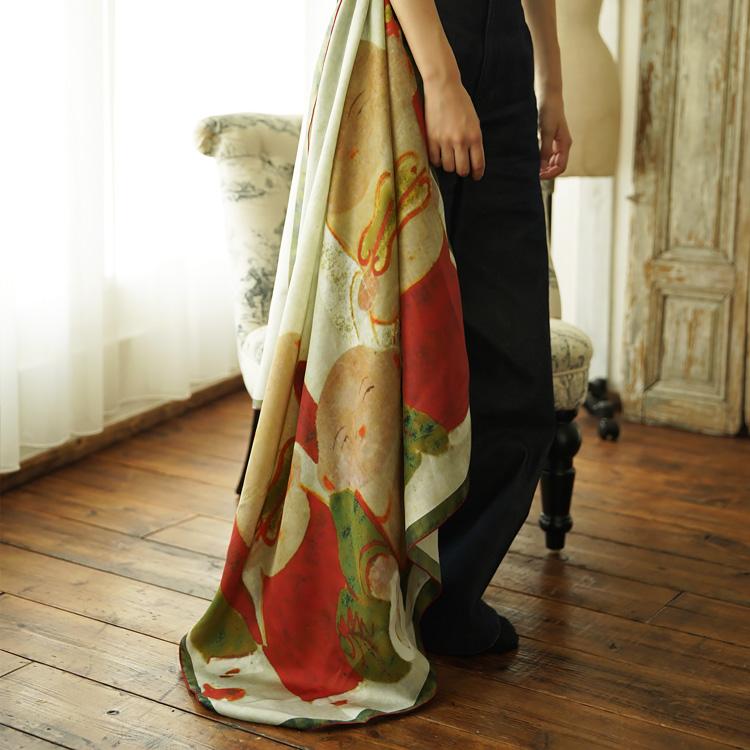 シルクスカーフ シルク100% 大判スカーフ silk scarf 浮世絵スカーフ 伊藤若沖「伏見人形」絹 itou jakuchu