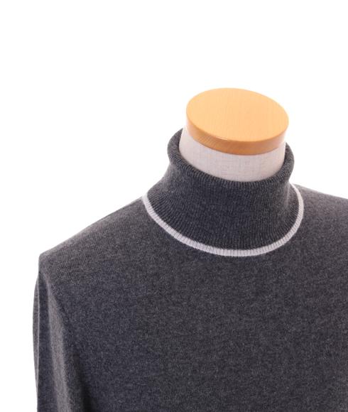【 アウトレット】メンズ 配色タートルネック カラー:ミディアムチャコール×ライトグレー サイズ:M