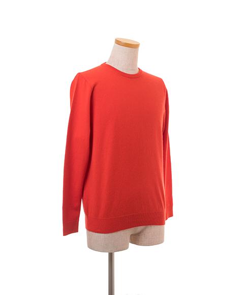 カシミヤ100% メンズクルーネックプルオーバー カラー:オレンジレッド サイズ:S、M、L
