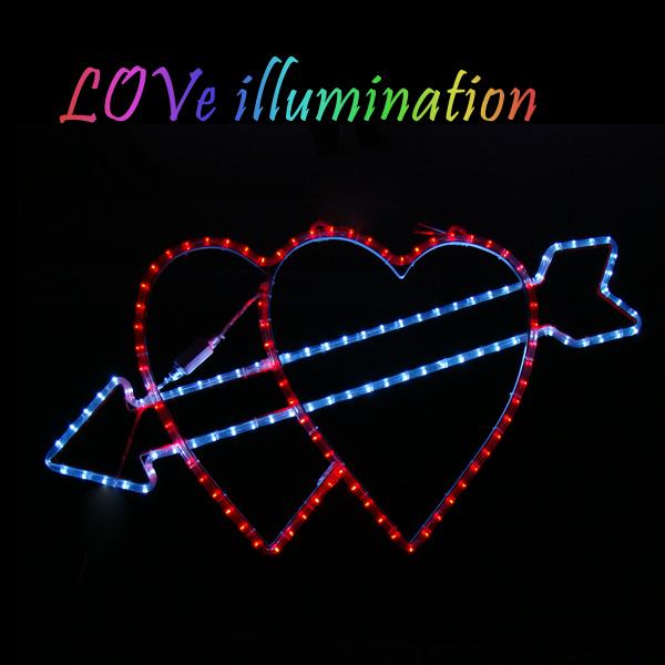 イルミネーション 屋外用 モチーフライト ハート 50×90cm レッド ピンク ブルー LED 防水 防雨 クリスマス 電飾 ライト 飾り付け 装飾 庭 ガーデン 玄関 エントランス 窓 壁面 フェンス 業務用 結婚式 かわいい