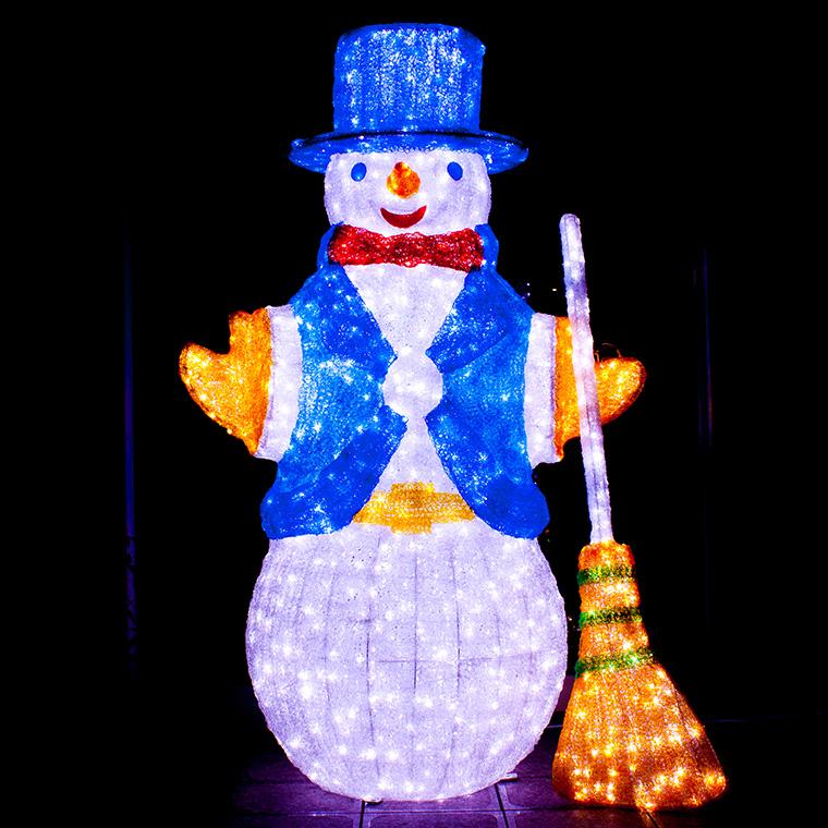 イルミネーション 屋外用 3D モチーフライト スノーマン 特大 高さ1.7m カラフル LED 防水 防雨 クリスマス 雪だるま クリスタル 電飾 ライト 飾り付け 装飾 庭 ガーデン 玄関 エントランス 窓 壁面 フェンス 業務用 結婚式 かわいい