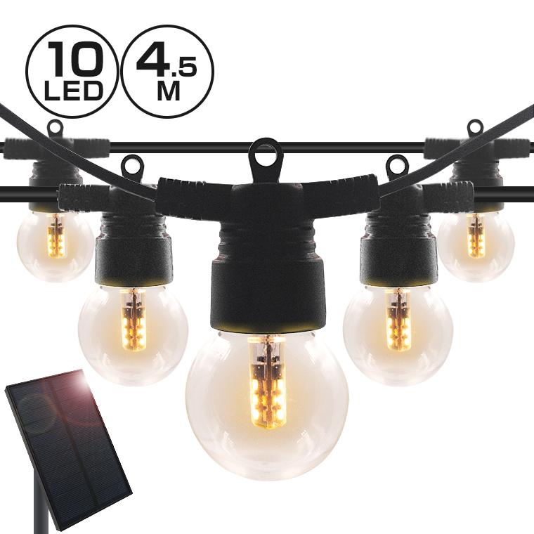 ソーラー ストリングライト 電球 イルミネーション ストレート LED10球 長さ4.5m 電球色 屋外用 防水 防雨 防塵 ソーラー充電