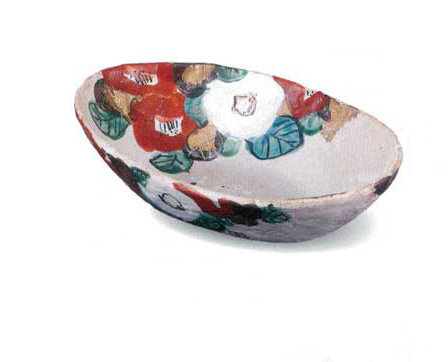 美濃焼 椿楕円 盛込鉢