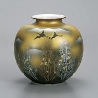 九谷焼 花瓶 7号 金雲木立 AP2-1368