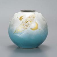 九谷焼 花瓶 7号 銀彩金鶴 AP2-1373