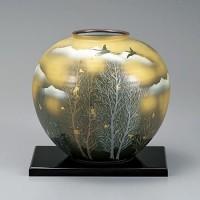 九谷焼 花瓶 8号 金雲木立 AP2-1378