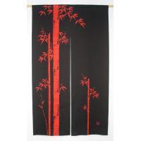 本ろうけつ染め竹柄のれん150cm丈 赤黒