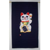 本ろうけつ染めプレミアム招き猫のれん(手差し)150cm丈 紺