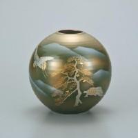 九谷焼 花瓶 7号 鶴亀 AP2-1362