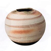 8007-03 信楽焼 白泥櫛目丸花瓶 10号